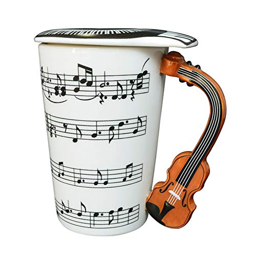 Giftgarden 13.5 oz Ceramic Coffee Mug with Lid Violin Music Notes Style Water Milk Tea Drink Porcelain Cup