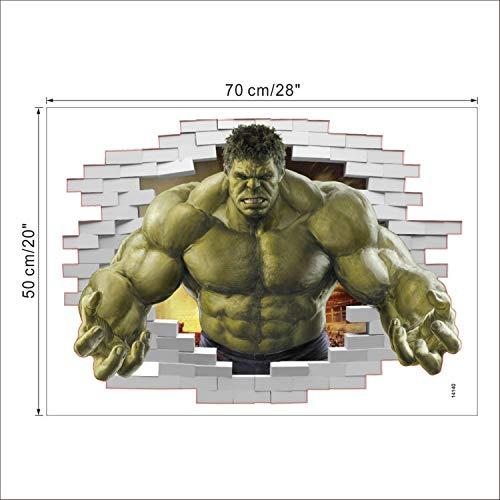 Jewh Superheroes Comic Avengers The Incredible Hulk Wall Sticker - Vinyl Art Home Kids Boy Bedroom Poster - Nursery Decor Decal (Hulk Break Wall)