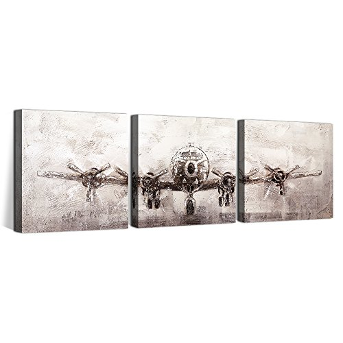 OKAYPAINTING--Exclusive Modern Airplane Canvas Painting Wall Art Home Decoration Streched Canvas Art Decor 12X12inch Set of 3 by OKAYPAINTING