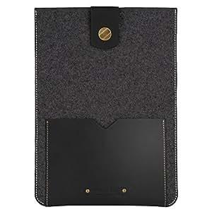 JAPANESE HIGH QUALITY GENUINE LEATHER / three colors / iPad case (005) compatible with Ipad/Ipad mini (dark gray * black (S))