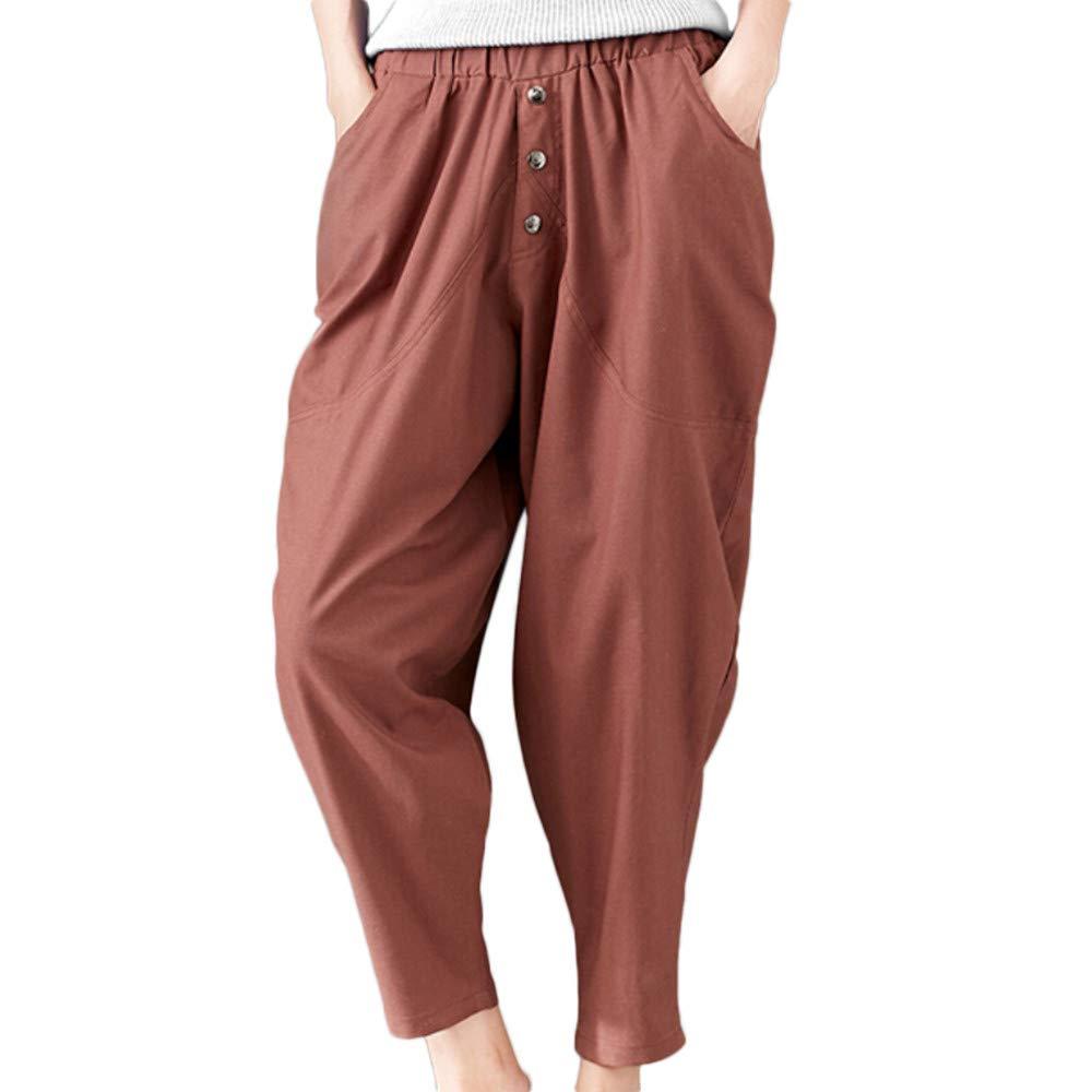 Jinjin Casual Cotton Linen Pants with Pocket Loose Pants Trousers for Women Autumn