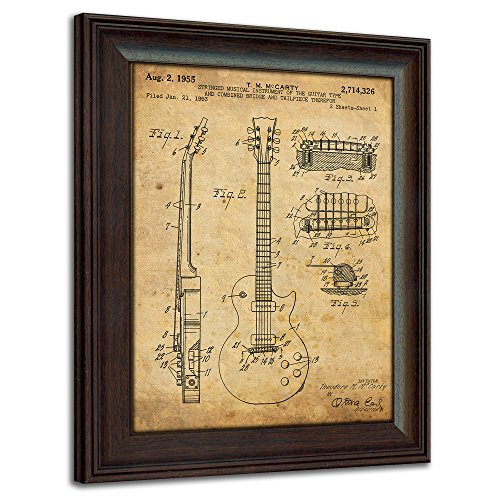 Gibson Les Paul Guitar Patent Print - Framed Behind Glass 14x17