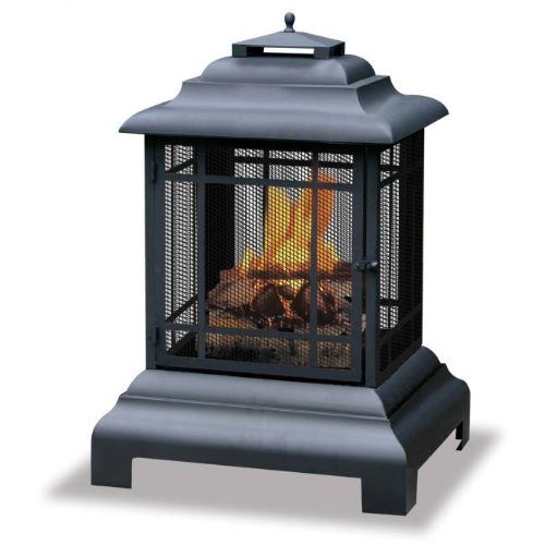 [Uniflame Mission-Style Outdoor Firehouse / Fire Pit , Black] (Mission Style Fire Pit)