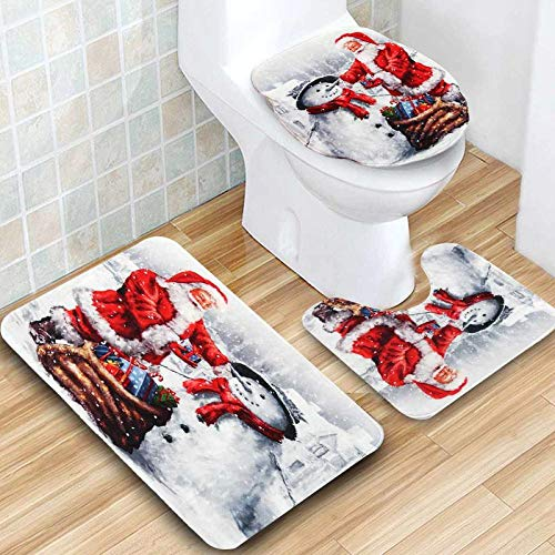 (3Pcs Bathroom Christmas Snowman Pattern Pedestal Toilet Seat Mat+Lid+Bath Carpet Rug Toilet Bath Non-Slip Cover Home Decor)
