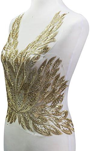 6pcs  8 x 41cm  gold sequin butterfly tie appliques patch  clothes dress diy decorative M43F174 free ship
