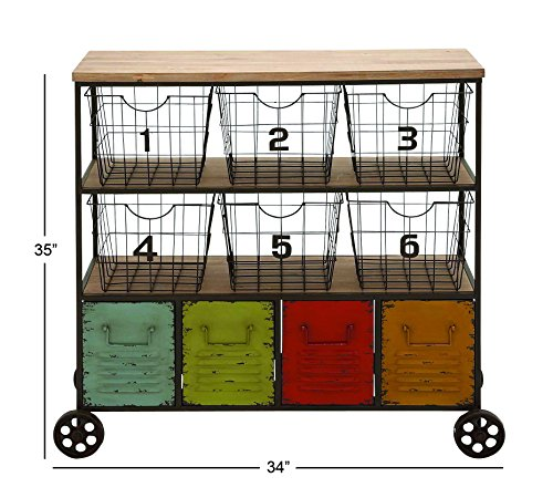 """Deco 79 34968 Metal Storage Cart, 34"""" x 35"""", Multicolor"""