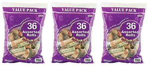 RamPro 3 Pk, 36/Pcs - Total of 108 Assorted Size Coin Wrappers