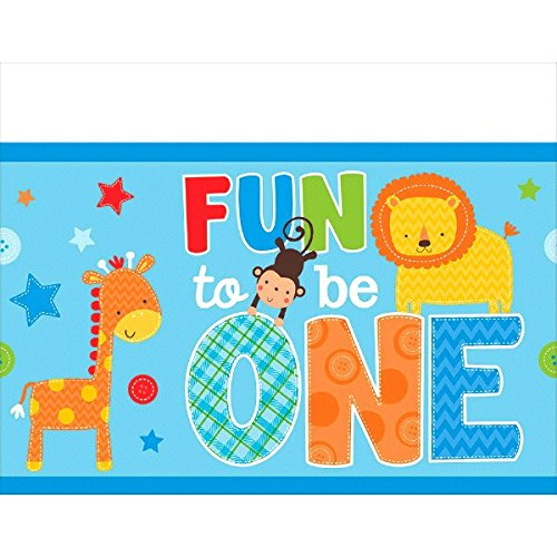 One Wild Boy Birthday Party Plastic Table Cover, Multi Colored, plastic, 54 inches x 102 (Party Boy Theme)