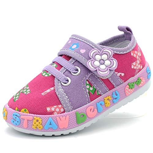 Little Berry Girl's Slip On Strap Shoes Bow Sparkling Lace Soft Rubber Outsole (3 M US T, Lavender) ()