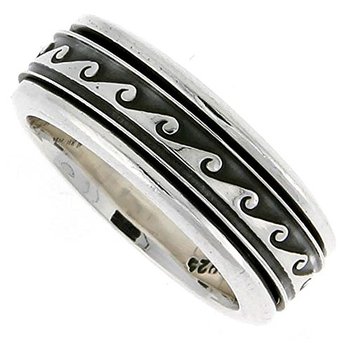 Sterling Silver Mens Spinner Ring Wave Design Handmade 5/16 wide, size 12 -