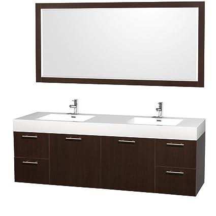 wyndham collection amare 72 inch double bathroom vanity in espresso rh amazon com
