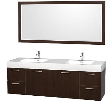 Wyndham Collection Amare 72 Inch Double Bathroom Vanity In Espresso