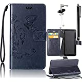 Samsung Galaxy S4 Case, Bonice 3 in 1 Accessory PU Leather Flip Practical Book Style Magnetic Snap Wallet Case with [Card Slots] [Hand Strip] Premium Multi-Function Design Cover + Black Stylus Pen + Diamond Rhinestone Butterfly Antidust Plug, Dark Blue