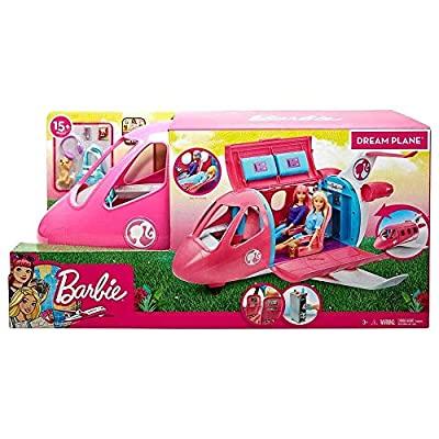 Barbie Dreamplane Transforming Playset with Reclining Seats and Working Overhead Compartments, Plus 15+ Pieces Including a Puppy and a Snack Cart, for Kids 3 Years Old and Up: Toys & Games