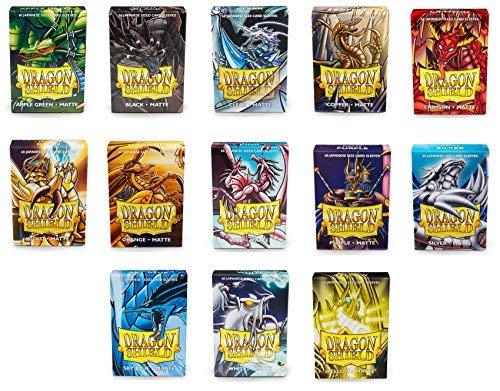 Dragon Shield Bundle: 13 Packs of 60 Count Japanese Size Mini Matte Card Sleeves - All Available Colors - 780 Sleeves
