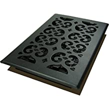 Decor Grates STH610 Scroll Text Floor Register, 6-Inch by 10-Inch, Black
