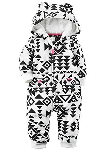 Carters Baby Girls Fleece Hooded Romper Jumpsuit, Black Aztec, 3 Months