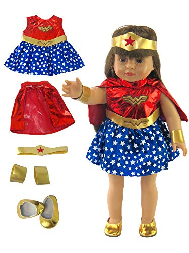 American Fashion World Wonder Woman Inspired Outfit with Shoes Made for 18-inch Dolls fits 18-inch American Dolls and More