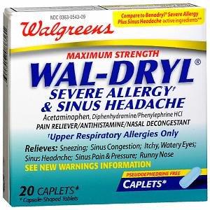 Walgreens Wal-Dryl Severe Allergy & Sinus Headache, Maximum Strength, Caplets - 20 count (Severe Allergy Caplets)