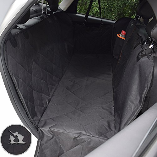Pet/Dogs Car Seat Covers for Back Seat-100% Waterproof Anti-Scratch Nonslip Car Seat Cover for Dog Pet Hammock Backseat Cover with Mesh Viewing Window Dog Protector with Side Flaps for Car Truck-black