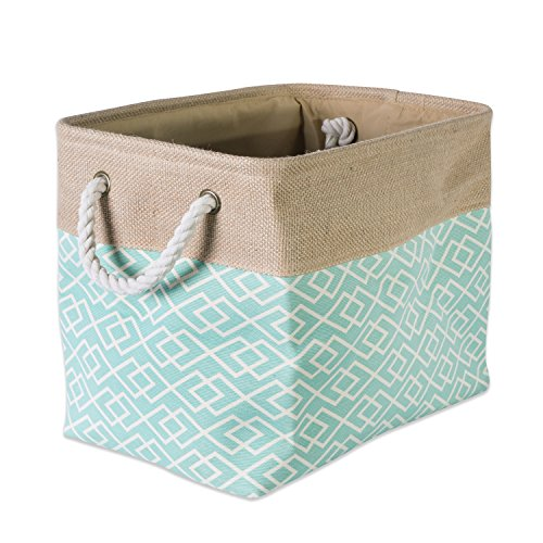 DII Collapsible Burlap Storage Basket or Bin with Durable Cotton Handles, Home Organizational Solution for Office, Bedroom, Closet, Toys, & Laundry (Small - 14x8x9''), Diamond Aqua by DII