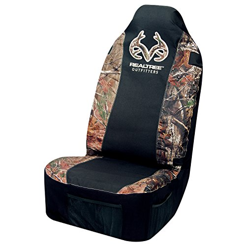 Mossy Oak Seat Covers (Realtree Universal Seat Cover AP Camo, Heavy-Duty Polyester, Sold Individually)