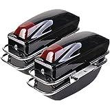 Comie 2 Pcs Motorcycle Cruiser Hard Trunk SaddleBags Luggage w/ Lights Mounted Chrome Rail Bracket Black