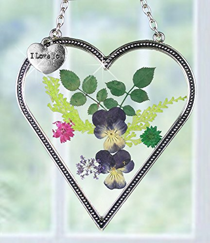 I Love You - Heart Sun Catcher - Pressed Flowers Suncatcher with I Love You Hanging Charm