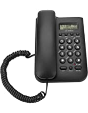 ASHATA Schnurgebundes Telefon/Schnurtelefon, LCD Display Home Wired Desktop Telefon Festnetztelefon,FSK/DTMF Einfaches Telefon Freisprechen Analog Telefon für Hause Büro Hotel usw.(Schwarz)