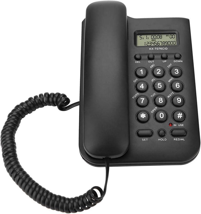 Eboxer Teléfono Fijo con Cable,Teléfono Fijo de Pared con Sistema Dual FSK/DTMF para Casa, Oficina, Hotel (Negro/Blanco)(Negro)