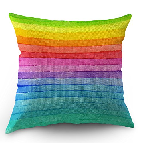 Moslion Rainbow Pillow Cover Summer Rainbow Stripes Cotton Linen Decorative Throw Pillow Case 18 x 18 Inch Standard Square Cushion Cover for Sofa Bedroom Men Women Kids Multicolor -