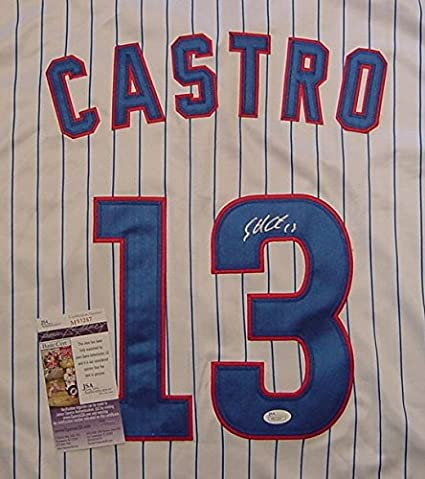 buy online 6aa3f 02ebb Starlin Castro Chicago Cubs Autographed White Pinstripe #13 ...
