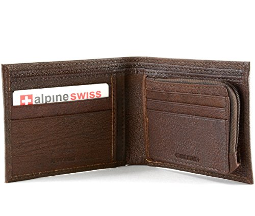 Mens Leather Wallet Zipper Coin Purse 6 Card Slots 3 More Pockets 2 Bill Section Antique Brown