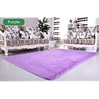 LELVA Ultra Soft 4.5 Cm Thick Indoor Morden Area Rugs Pads Fashion Color [Bedroom] [Livingroom] [Sitting-room] [Rugs] [Blanket] [Footcloth] for Home Decorate (Purple, 4ft X 5ft)