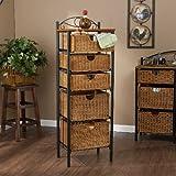 Iron/Wicker Five Drawer Storage Unit