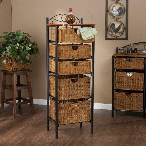 Review Iron/Wicker Five Drawer Storage Unit By FurnitureMaxx by FurnitureMaxx