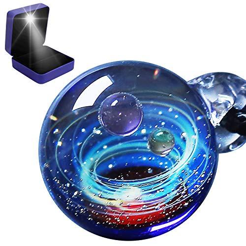 Pavaruni Original Galaxy Pendant Necklace, Universe Glass Accessories, Space Cosmos Design,Birthday Minerva(Light Gift Box)