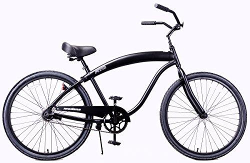 Fito Men's Modena II Aluminum Alloy 1-Speed Beach Cruiser Bike, Black, 18″ x 26″/One Size