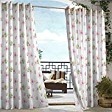 Living Room/Bedroom Window Curtains,Cherry Blossom,Fresh Spring Meadow Fragrance Joy and Love Tender Season Flowers,Pale Pink Green White,Outdoor Curtain Panels for Patio Waterproof 108'x72'inch