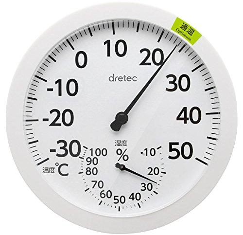 드레텍 dretec(dretec) 온도계 화이트 W16×D1.9×H16cm(벽걸이 시) O-320WT