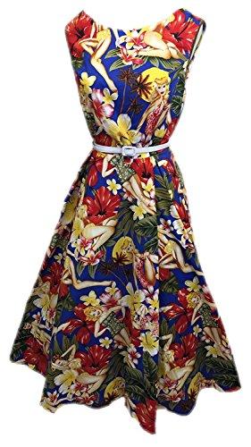 歯痛醜い彼自身Boolavard Women's Vintage 1950sホルターネックオードリーヘップバーンドレス50sレトロスイングドレス(ベルト付)