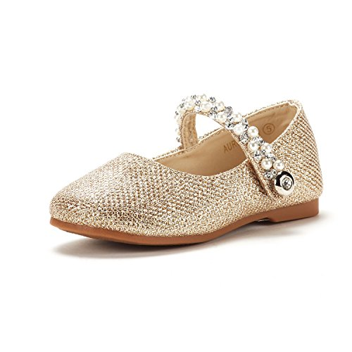 DREAM PAIRS Toddler Aurora_01 Gold Girl's Mary Jane Ballerina Flat Shoes Size 4 M US - Dreams Girl Baby