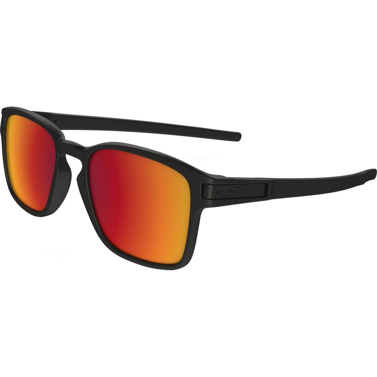 Oakley Men's Latch Squared Non-Polarized Iridium Rectangular Sunglasses, Matte Black w/Torch Iridium, 52 mm