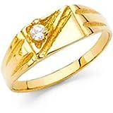 14k Yellow Gold CZ Baby Boy Signet Ring