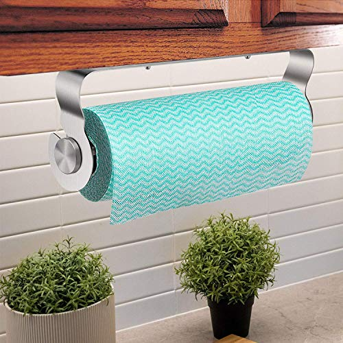 Paper Towel Holder Under Cabinet - with Adhesive Wall Mounted & No Drilling, Removable Stainless Steel for Home Kitchen, Easy Tear