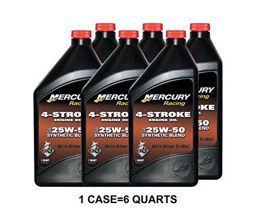 OEM Mercury Racing 4-Stroke Engine Oil SAE 25W-50 Synthetic Blend Case 6 Quarts