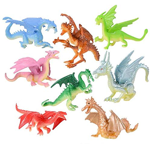 48 Mini Dragon 2 Inch Toy Figures - 48 Dragons and 1 Vortex Eraser - Prizes, Fantasy, Mythical Play, Party Favors, Stocking Stuffers