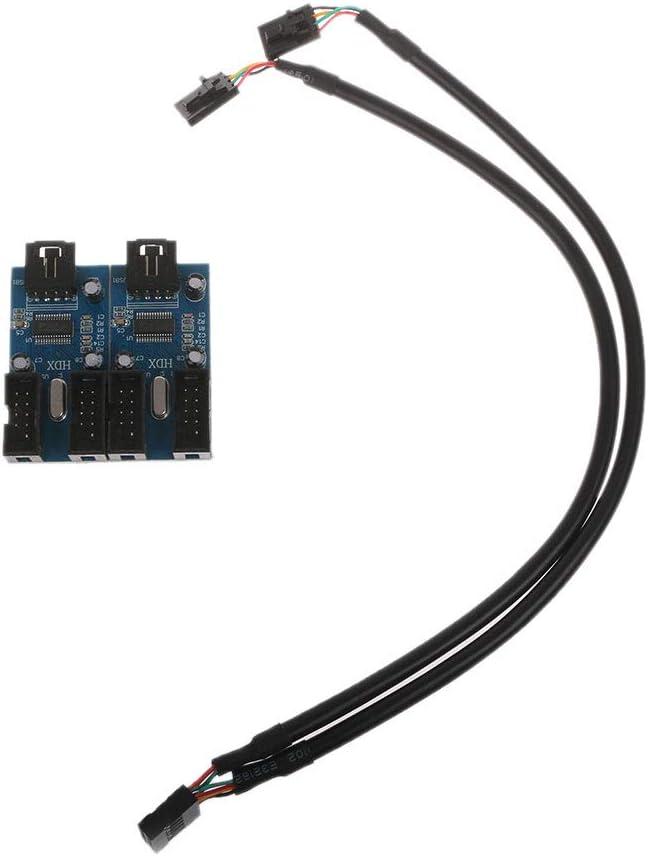 Wondiwe PC Case Internal 9-Pin USB 2.0 Male 1 to 4 Female Splitter PCB Chipset Extender
