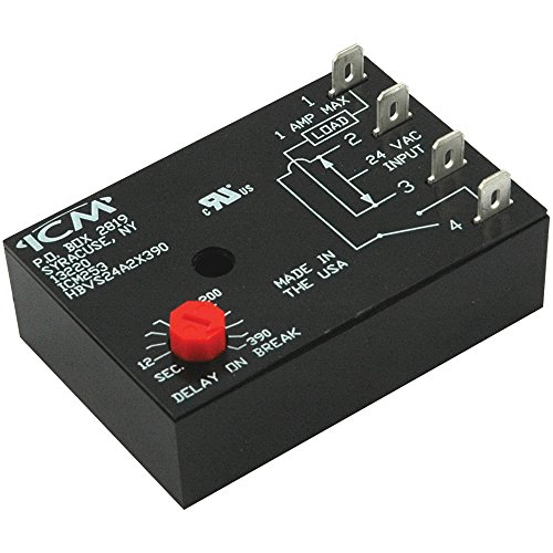 ICM Controls ICM253 Fan Delay Timer, 12-390 Seconds Adjustable Off ()