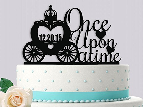 Topper Wedding Cake Carriage - Once Upon a Time Carriage With Date Wedding Cake Topper